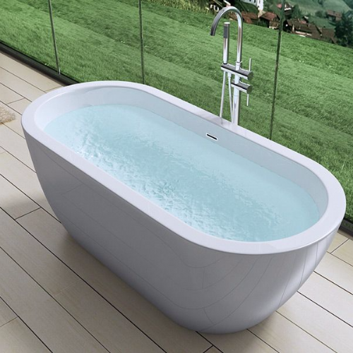 AquaSoak 1800mm Modern curved Double Ended Freestanding Bath Tub Acrylic Designer